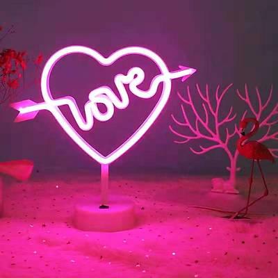 Love Kalp Neon Dekor Aydýnlatma - Kablolu ve Pilli