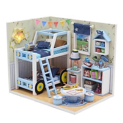 DIY Doll House - Blue Bunk Model Çocuk Evi