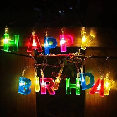 Renkli Happy Birthday Led Iþýk - 1.8m Led Iþýk Zinciri