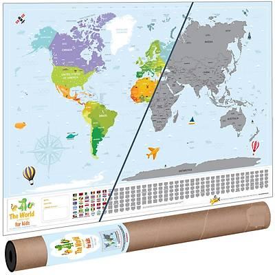Scratch Map Kids   Çocuk Kazýma Poster Dünya Haritasý
