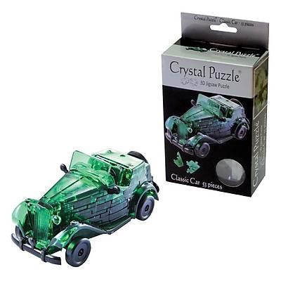 3D Crystal Puzzle Green Classic Car - 3 Boyutlu Yeþil Araba