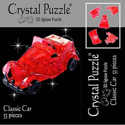 3D Crystal Puzzle Red Classic Car - 3 Boyutlu  Kýrmýzý Araba