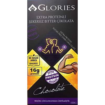 Glories Ekstra Proteinli (%12) Şekersiz Bitter Çikolata