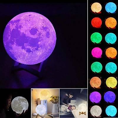 Moon Light - Orta Boy Uzaktan Kumandalý 3D Ay Iþýðý Gece Lambasý