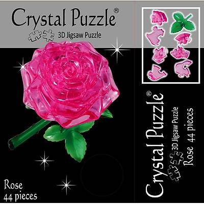 3D Crystal Puzzle Pink Rose - 3 Boyutlu Kýrmýzý Pembe Gül Puzzle