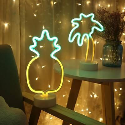 Ananas Neon Dekor Aydýnlatma - Kablolu ve Pilli