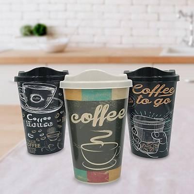 3'lü Kapaklý Kahve Bardaðý Seti - Kahve Muhafaza Bardaðý