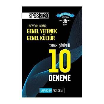Pegem Akademi Yayýnlarý  2020 KPSS Lise ve Önlisans Adaylarý Ýçin Tamamý Çözümlü 10 Deneme