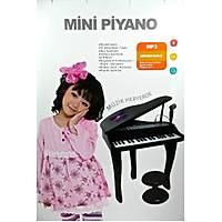 Kutulu Pilli 37 Tuþ Mikrofonlu ve Tabureli Piyano Siyah Piyano