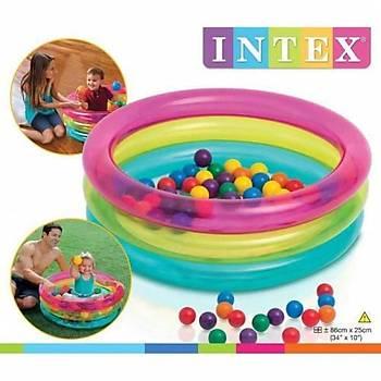 İntex Şişme 3 Boğumlu Renkli (50 Pcs Top) Oyun Havuzu
