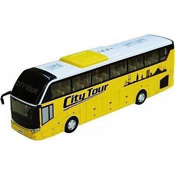 Otobüs Oyuncak Metal Çek Bırak Pilli Sesli Işıklı 1:32 Tur Otobüs