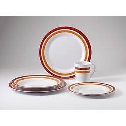 Promo-Line Red rings, 16 parça melamin yemek takýmý