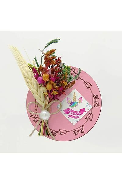 Çiçek Buketli Kanaviçe Nikah-Bebek Þekeri, Pembe Ahþap