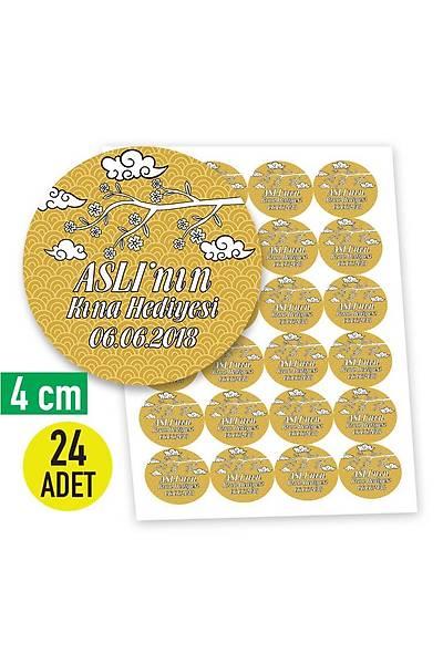 4 cm Yuvarlak Etiket - 24 adet - Gold Temalý