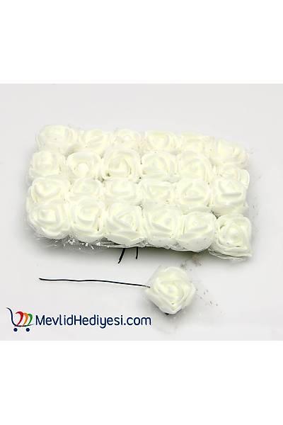 Beyaz, Tüllü Lateks Gül, 1.5 Cm - 12 Adet
