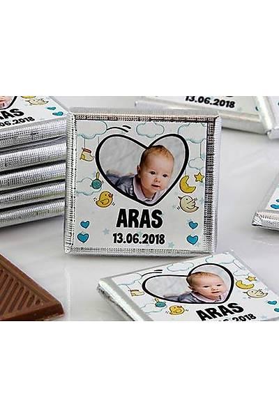 Erkek Bebek Çikolatasý - Kutulu - Fotoðraflý Kalp