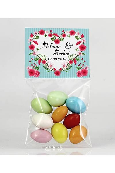 Renkli Çikolatalý Badem - Kýna, Nikah - Güllü Kalp