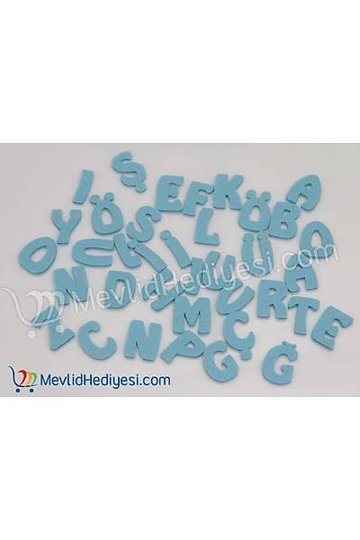 Keçe Mavi Renk Harf Seti Tüm Alfabe 3 Cm
