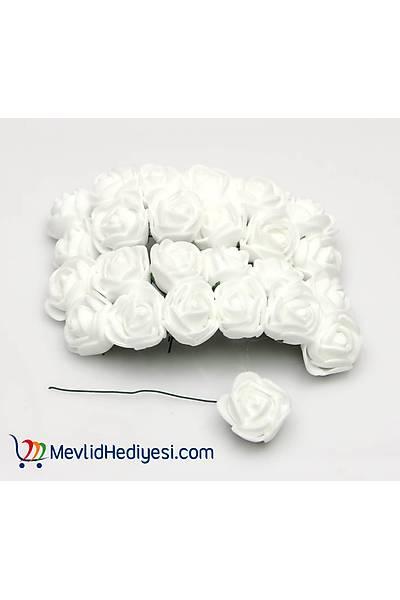 Beyaz, Lateks Gül, 1.5 Cm - 12 Adet