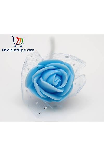 Mavi, Tüllü Lateks Gül, 1.5 Cm - 12 Adet