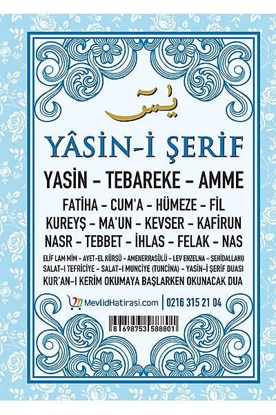 MAVİ 3'lü Yasin Seti / Tül Kese + Tespih
