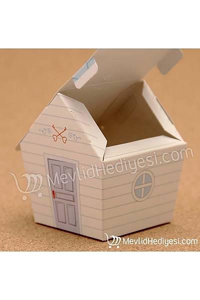 Mavi Çatılı Sevimli Ev Şeker Kutusu