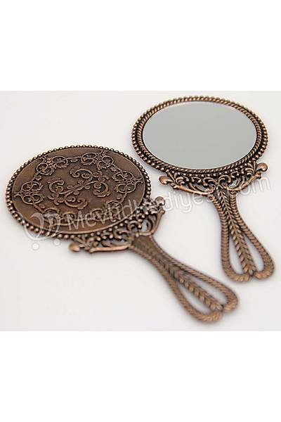 Metal Ayna, Bronz Renkli, 10cm X 5cm
