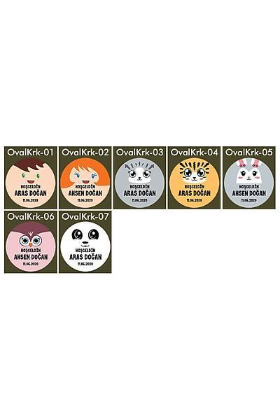 3 cm Yuvarlak Karton Etiket - 48 adet - Karakter