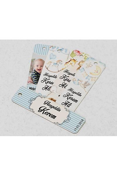 Dik Karton Etiket - 36 adet - Erkek Bebek