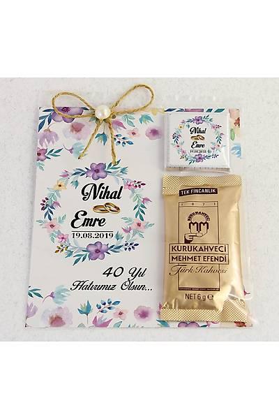 Ýnci Detaylý Kahve ve Çikolatalý Söz, Niþan, Kýna Hediyesi - Mor Çiçekler