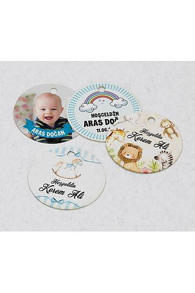 4 cm Yuvarlak Karton Etiket - 24 adet - Erkek Bebek