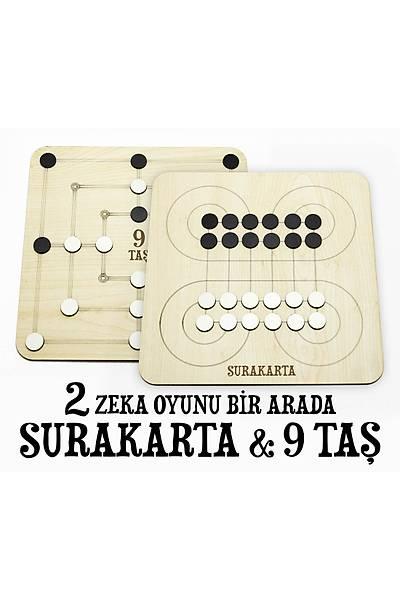 2'si Bir Arada Zeka Oyunu Seti - 9 Taþ, Surakarta