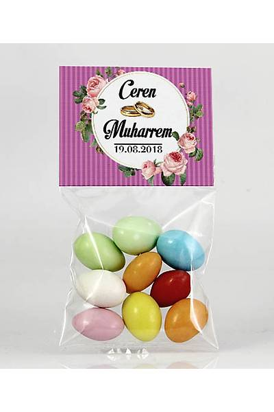 Renkli Çikolatalý Badem - Kýna, Nikah - Güllü, Mor Temalý