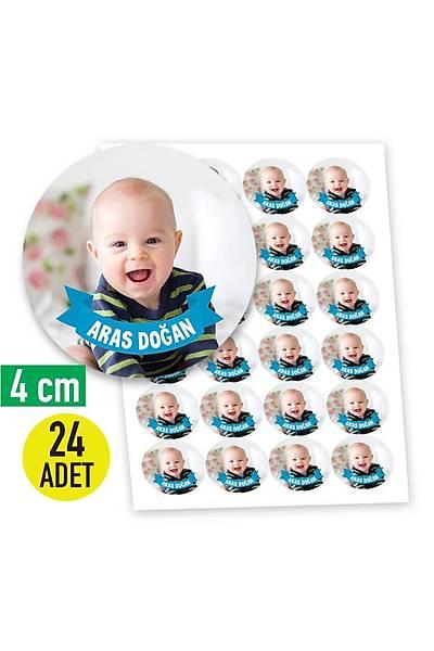 4 cm Yuvarlak Etiket - 24 adet - Fotoðraflý Mavi Ýsimlik