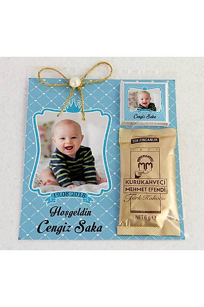 Ýnci Detaylý Kahve ve Çikolatalý Erkek Bebek Hediyesi - Fotoðraflý