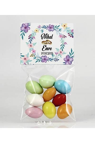 Renkli Çikolatalý Badem - Kýna, Nikah - Mor Çiçekler