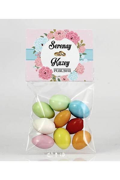 Renkli Çikolatalý Badem - Kýna, Nikah - Mavi, Pembe Güllü