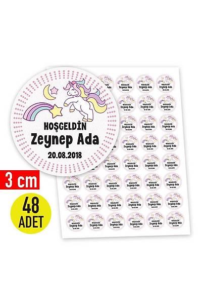 3 cm Yuvarlak Etiket - 48 adet - Pembe Yýldýzlý Unicorn