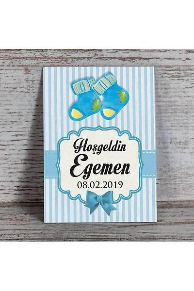 Mavi Temalý Magnet - Patik - 8 Adet