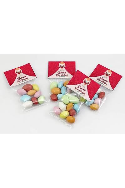 Renkli Çikolatalý Badem - Kýna, Nikah - Kýrmýzý Temalý Gelin