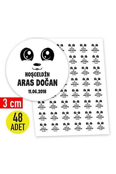3 cm Yuvarlak Etiket - 48 adet - Panda Karakter