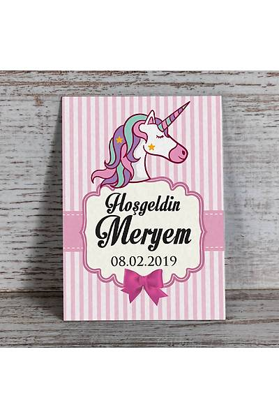 Pembe Temalý Magnet - Unicorn - 8 Adet