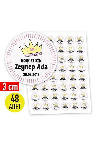 3 cm Yuvarlak Etiket - 48 adet - Pembe Taç