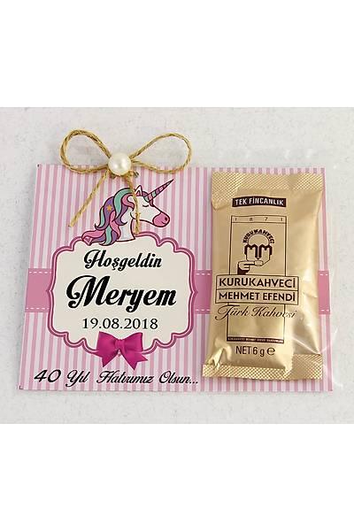 Ýnci Detaylý Kahve - Kýz Bebek Hediyesi - Unicorn