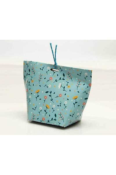 Mavi Çiçekli Çanta Şeker Kutusu
