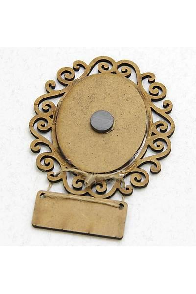 Ayetli Ahþap Oval Çerçeve - Magnet - Pembe