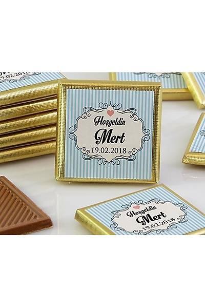 Erkek Bebek Dökme Çikolata - Çerçeveli