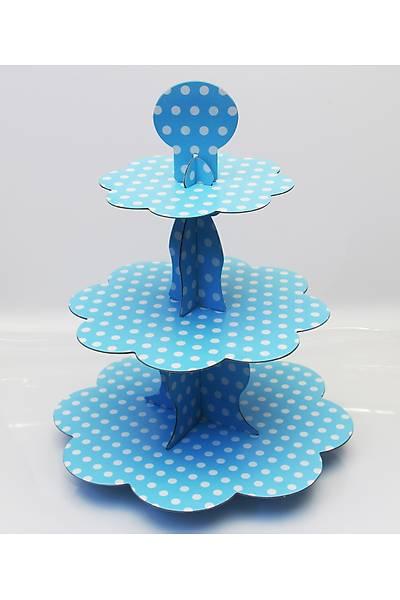 Mavi Puantiyeli, 3 Katlý Kek Standý, Kalýn