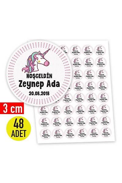 3 cm Yuvarlak Etiket - 48 adet - Pembe Unicorn