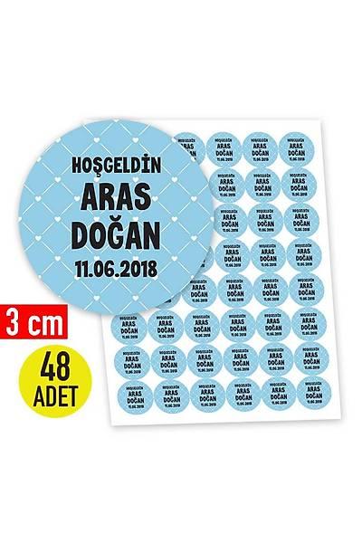 3 cm Yuvarlak Etiket - 48 adet - Mavi Temalý